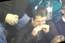 Image result for harbaugh at sharks wings hockey