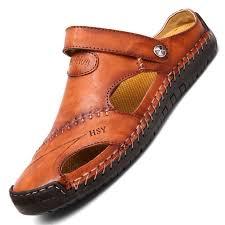 Menico <b>Men</b> Hand Stitching <b>Soft</b> Outdoor Closed Toe <b>Leather</b> Sandals