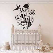 <b>Cartoon Peter Pan Never</b> Grow Up Quote Wall Decal Baby Nursery ...