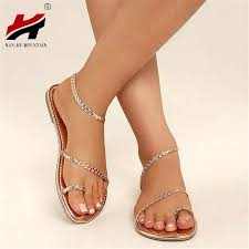 NAN JIU MOUNTAIN <b>Summer Flat Sandals</b> Casual Set Toe PU ...