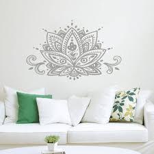Lotus <b>Flower Wall</b> Decal Namaste <b>Mandala</b> Wall Sticker <b>Boho</b> ...
