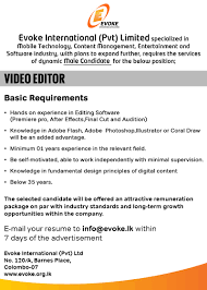 video editor job vacancy in sri lanka after effects final cut and audition knowledge in adobe flash adobe photoshop illustrator or coral draw will be an added advantage minimum 01