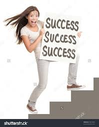 success sign young successful w showing stock photo  success sign young successful w showing success sign climbing stairs isolated on white background