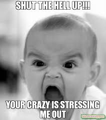 shut the hell up!!! your crazy is stressing me out meme - Angry ... via Relatably.com