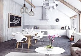 Paint For Open Living Room And Kitchen Miysis Painted White Brick Open Plan Kitchen Living Dining