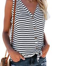 Fashion Womens <b>V</b>-<b>Neck Button</b> Cotton Stripe <b>Sexy</b> Sleeveless Vest ...