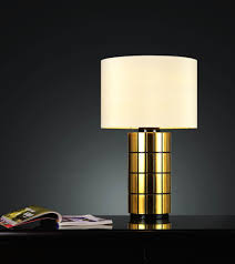 interior furniture small contemporary best bedside table lamp with gold stand cover and white round lampshade on black table with bookshelf ideas bedside bedroom nightstand lamps ideas lighting models bedside