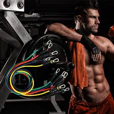 <b>11pcs</b>/<b>set</b> fitness <b>Resistance Bands</b> rubber elastic string chest ...