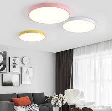 5CM <b>Ultra</b>-<b>thin Ceiling</b> Light Macaron Color Round Acrylic <b>Led</b> ...