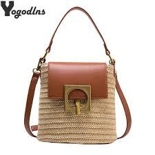 <b>Fashion Handmade Summer</b> Straw+pu Handbags Women Rattan ...