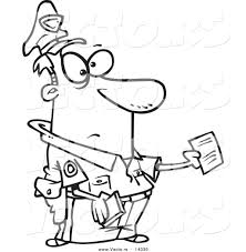 vector of a cartoon cop issuing a ticket coloring page outline vector of a cartoon cop issuing a ticket coloring page outline