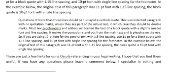 oscola archives liz brown editing example of block quote
