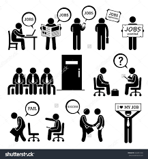 man looking job employment interview stick stock vector  man looking for job employment and interview stick figure pictogram icons