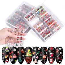 10 Pcs Starry <b>Laser</b> Nail Foil <b>Christmas Halloween</b> 3D Nail Art ...