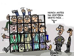 Resultado de imagem para charge de politicos presos