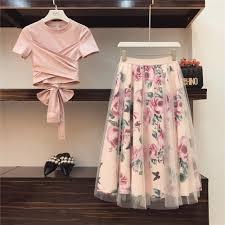 HIGH QUALITY Women Irregular T Shirt+Mesh Skirts Suits Bowknot ...
