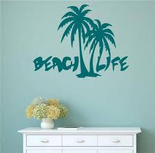 palm tree wall stickers: beach life with palm trees vinyl wall words decal sticker