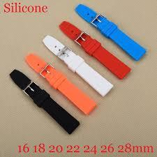 <b>Rubber Silicone</b> 16/<b>18</b>/<b>20</b>/22/24/26/28mm Solid Watch Black Red ...