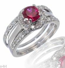 White Gold Sterling <b>Silver</b> Brilliant Cut Ruby Engagement Wedding ...