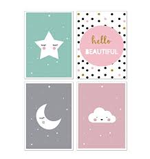 ANBER <b>Cute</b> Moon Star Cloud <b>Wall Art Canvas</b> Nordic <b>Posters</b> ...