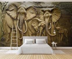 Custom <b>3D</b> Wall Murals Wallpaper <b>3D Stereo</b> Embossed Elephant ...