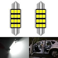 <b>2pcs</b> 39MM <b>C5W</b> 12 SMD 2835 White <b>LED Car</b> Dome <b>Interior</b> Light ...