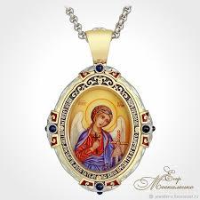 <b>Золотая нательная икона</b> `Владимирской Божией Матери` . На ...