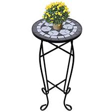 JBDSupply Mosaic Side Table Plant Table Black ... - Amazon.com