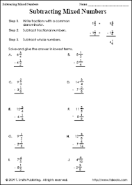 Subtracting Mixed Fractions With Regrouping Worksheets - WorksheetsAdding And Subtracting Mixed Numbers Worksheet Education