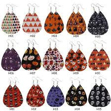 15 Styles New <b>Halloween</b> Teardrop <b>Pu</b> Leather Earrings Skull ...