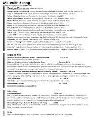 resume meredith boring theatrical design resume