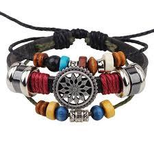 <b>Vintage</b> Women PU Leather <b>Bracelet</b> Rope Chain Ladies Beads ...
