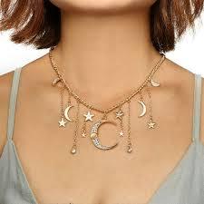 Women's Shiny Rhinestone <b>Star Moon Tassel</b> Charm <b>Pendant</b> ...