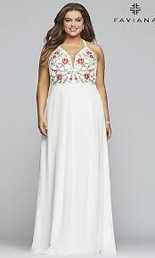 <b>Chiffon Plus</b>-<b>Size</b> Prom Dress with <b>Embroidered</b> Bodice