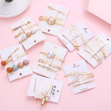 <b>3Pcs</b>/<b>Set Korean</b> Metal Hairpins Colorful Beads Hair Clips Fashion ...