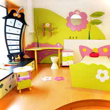 f cute decorating ideas of kids bedroom for small spaces with flower garden themes painting wallpaper and yellow purple plywood twin bed frame placed on childrens bedroom furniture small spaces