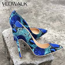 Veowalk Fashion Women Leopard Patent Leather <b>Pumps</b> Pointed ...
