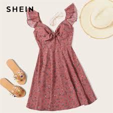 SHEIN <b>Pink Boho</b> Ditsy Floral Knot Neck Ruffle Trim Summer <b>Dress</b> ...