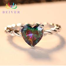 <b>Beiver 2019 New</b> Arrival White Gold Color Rainbow Heart Shaped ...
