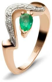 Эстет <b>Кольцо с 7 бриллиантами</b>, изумрудом из красного золота ...
