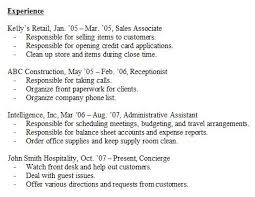 resume experience sample experience resume example