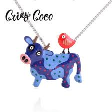 <b>2019 Cring Coco 2019</b> Silver Chain Necklace Animal Cow ...