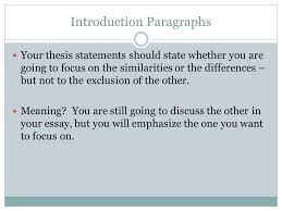 Difference between thesis and introduction paragraph