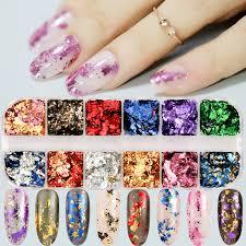 12 colors/set <b>Aluminum Irregular</b> Holographic <b>Glitter</b> Powder <b>Nail</b> ...