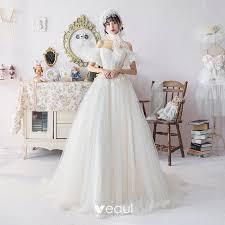 Ivory <b>Wedding Dresses</b> 2019 A-Line / <b>Princess</b> Off-The-Shoulder ...