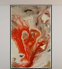 RED <b>FEATHER</b> Wall art on canvas, Original <b>acrylic painting</b>, <b>Modern</b> ...