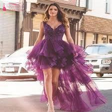 TANYA BRIDAL V <b>Neck</b> Lace purple Evening Dresses Short Front ...
