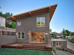 Skillion Roof Open Plan Home Design Ideas  Pictures  Remodel and DecorDesign ideas for a contemporary exterior in Seattle   three or more stories and a shed