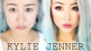 asian kylie jenner makeup transformation tutorial for hooded asian eyes blue hair look wengie