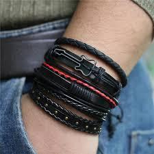 <b>5 Pcs</b>/<b>set Punk</b> Guitar Leather Bracelet - Artistic Pod